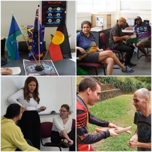 Collage of breakthru employees and customers enjoying activities to celebrate NAIDOC