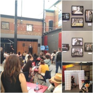 Collage of FOCUS 2019 with images of the art exhibition on walls and a crow gathered around a speaker to celebrate International Day of People with Disability.